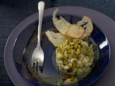 tartara tiepida di rombo e zucchine al curry ricetta
