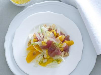 tonno con arance, finocchi e mandorle