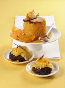 Torretta caramellata alla vaniglia e succo d'arancia