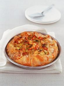 La torta con porri, arancia e gamberi