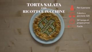 La torta salata aperta con ricotta e zucchine