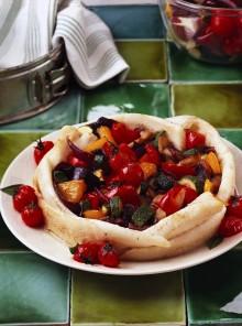 Tortino di platessa con zucchine e peperoni