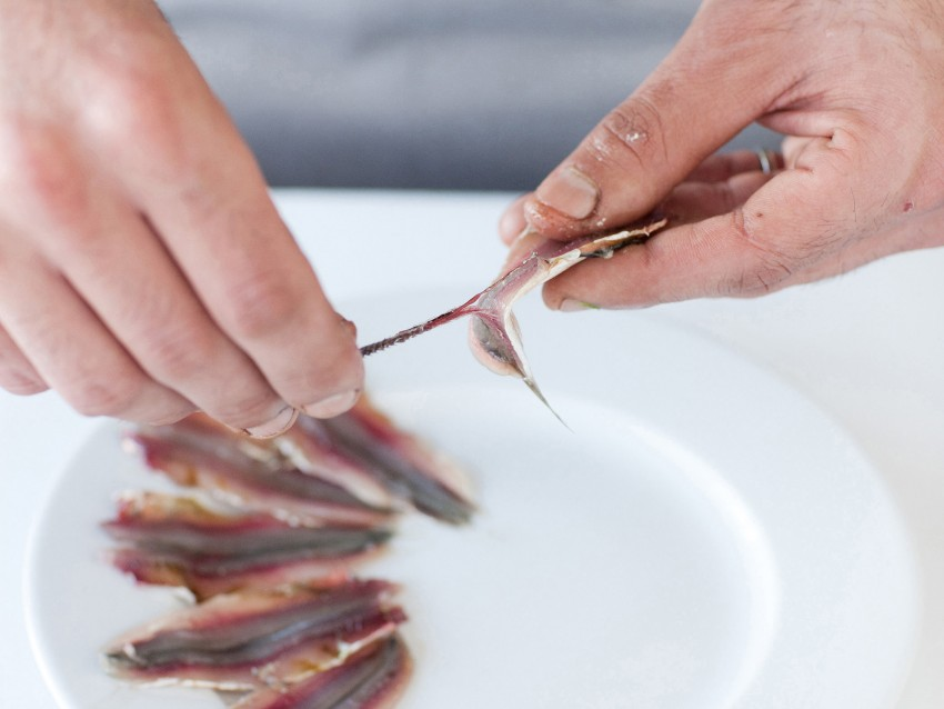 trittico-di-pesci-azzurri-su-crema-di-fave immagine