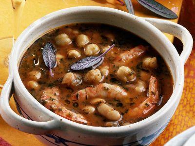 zuppa di fagioli ceci e gamberi