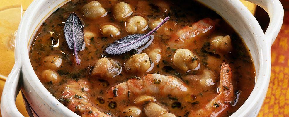 zuppa di fagioli ceci e gamberi Sale&Pepe