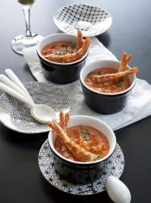 La zuppetta di lenticchie rosse e mazzancolle alla paprica