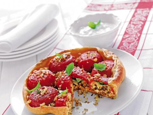 Tatin di pomodori farciti con briciole, pinoli e aromi Sale&Pepe