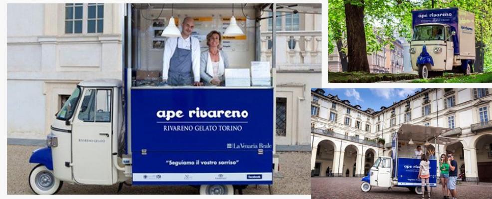 Ape Rivareno porta in giro per Torino il gelato impareggiabile dell'omonimo marchio. Da non perdere una pausa golosa nei giardini della Reggia di Venaria ogni week end.