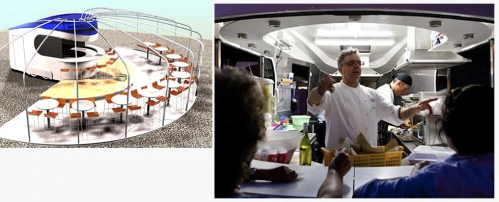 Lo chef Mauro Uliassi all'opera nel suo ristorante mobile progettato da Mirko Gabellini. Sarà sul molo di Senigallia per tre giorni da venerdì 8 giugno.