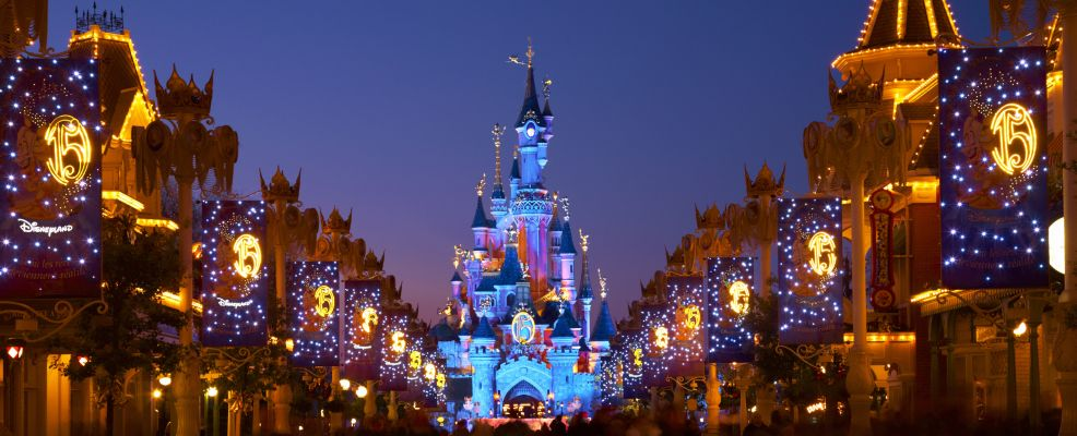 Main Street and Sleeping Beauty Castle at Disneyland Paris
