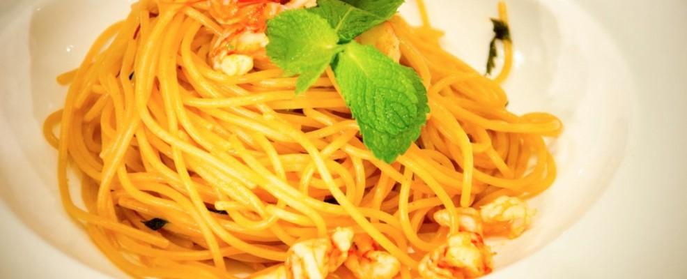 Spaghetti con gamberi rossi di Sicilia al Mojito