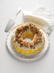 Semifreddo marmorizzato allo yogurt e mango con briciole croccanti