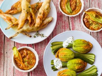 ventagli di zucchine e fiori a vapore ricetta