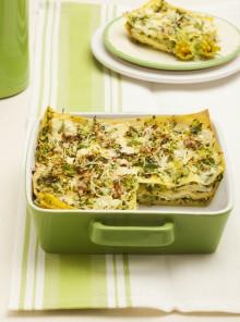 Lasagne con noci, primosale e zucchine