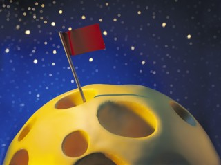 A flag marks the successful colonisation of the swiss cheese moon by industrious mice