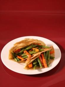 Crepes con fagiolini e carote