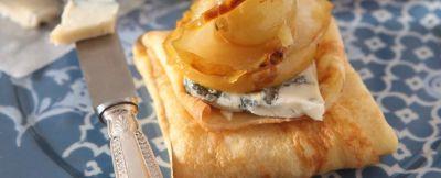 crepes al gorgonzola e mostarda di pere