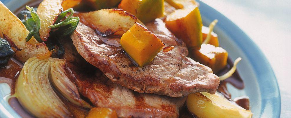 fettine di maiale con pere e zucca