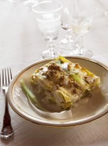 Lasagne con porri e crescenza