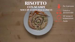Il risotto con scampi, noci e aceto balsamico