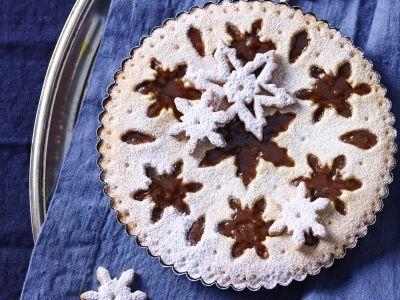 Crostata ai marroni con fiocchi di neve