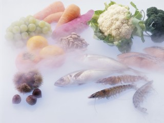 Frozen food still life: food at beginning of freezing process
