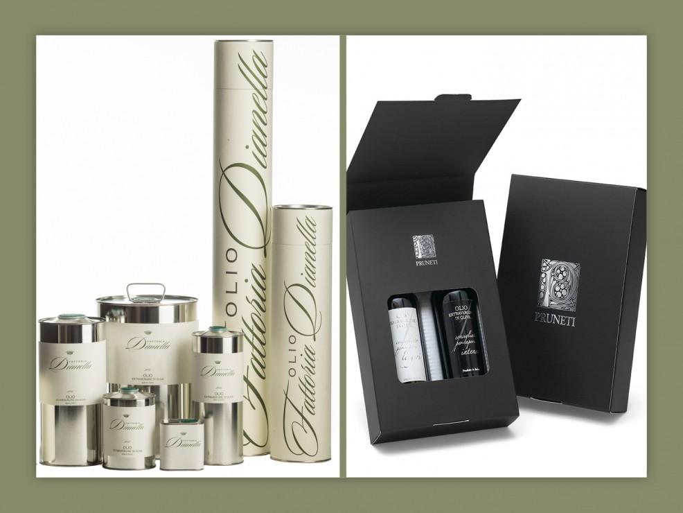 Olio extravergine di oliva: in acciaio della Fattoria Dianella; Box black&white del Frantoio Pruneti