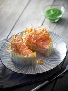 Sformato di salmone marinato e asparagi bianchi