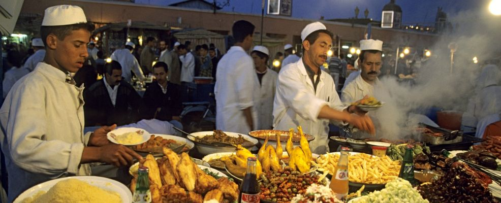 Morocco, High Atlas, Marrakesh, Imperial City, medina listed as World Heritage by UNESCO, restaurants in Jemma El Fna Square