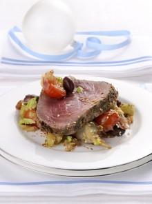 Roastbeef di tonno con caponatina