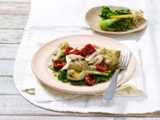 insalata di pollo con agretti e carciofi Sale&Pepe ricetta