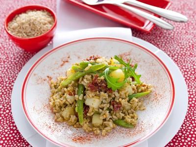 insalata di riso integrale al pesto