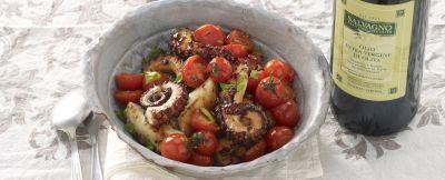 polpi alla piastra con pomodorini e sedano