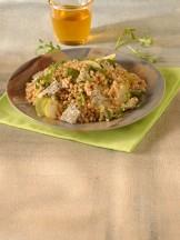 Farro, rucola e pere con gorgonzola e mele