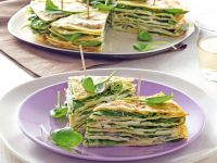 Club sandwich di crepes ai ceci con spinacini