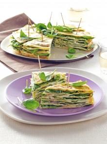 Club sandwich di crepes ai ceci con spinacini
