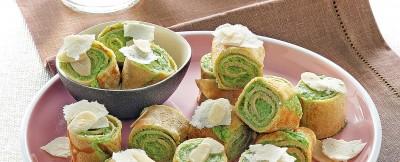 Rotolini di crepes al farro con pesto di broccoletti