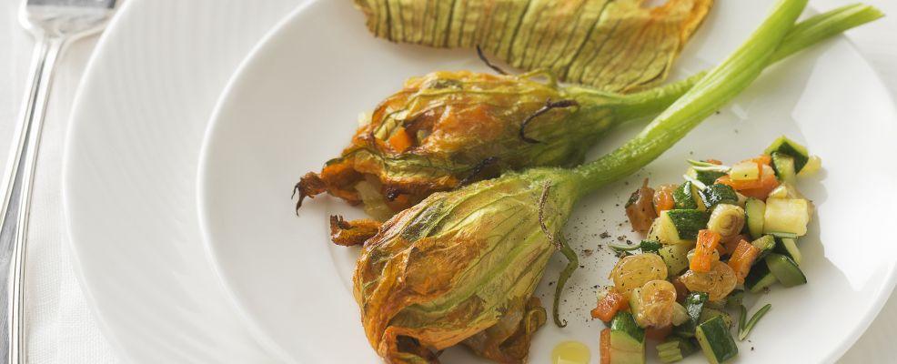 fiori-zucca-farciti-caponata-zucchine