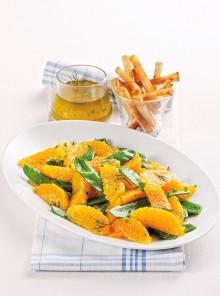 Insalata di taccole e arance con citronette
