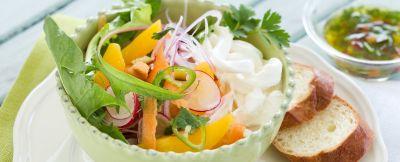 Insalata di mango e carote con stracciatella