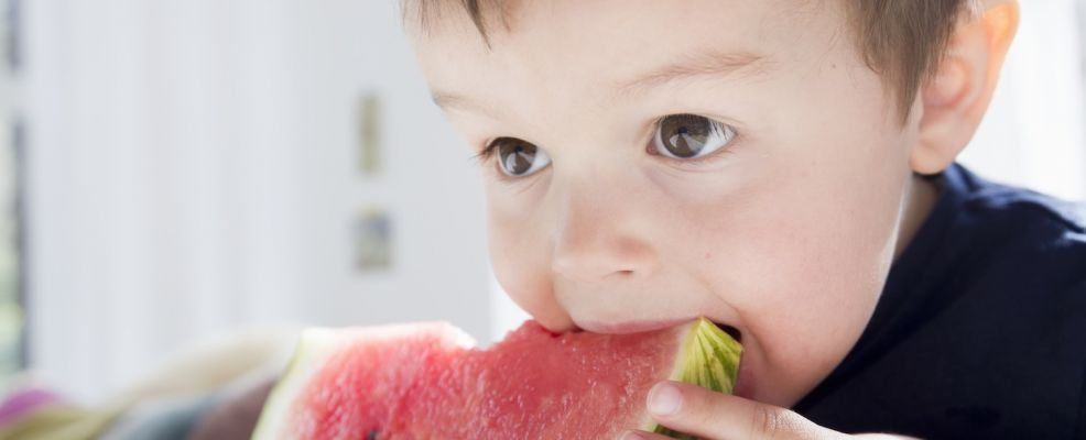 Little boy (12-23 months) eating watermelon