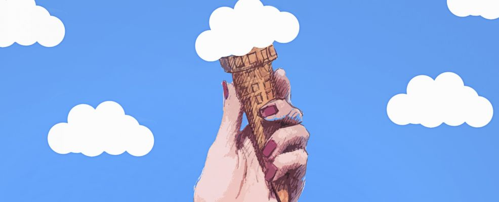 Hand holding cloud ice cream cone