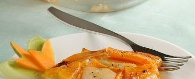 Gratin di zucca gialla, porri e formaggio