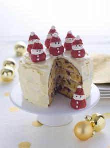 Torta di panettone con Babbi Natale