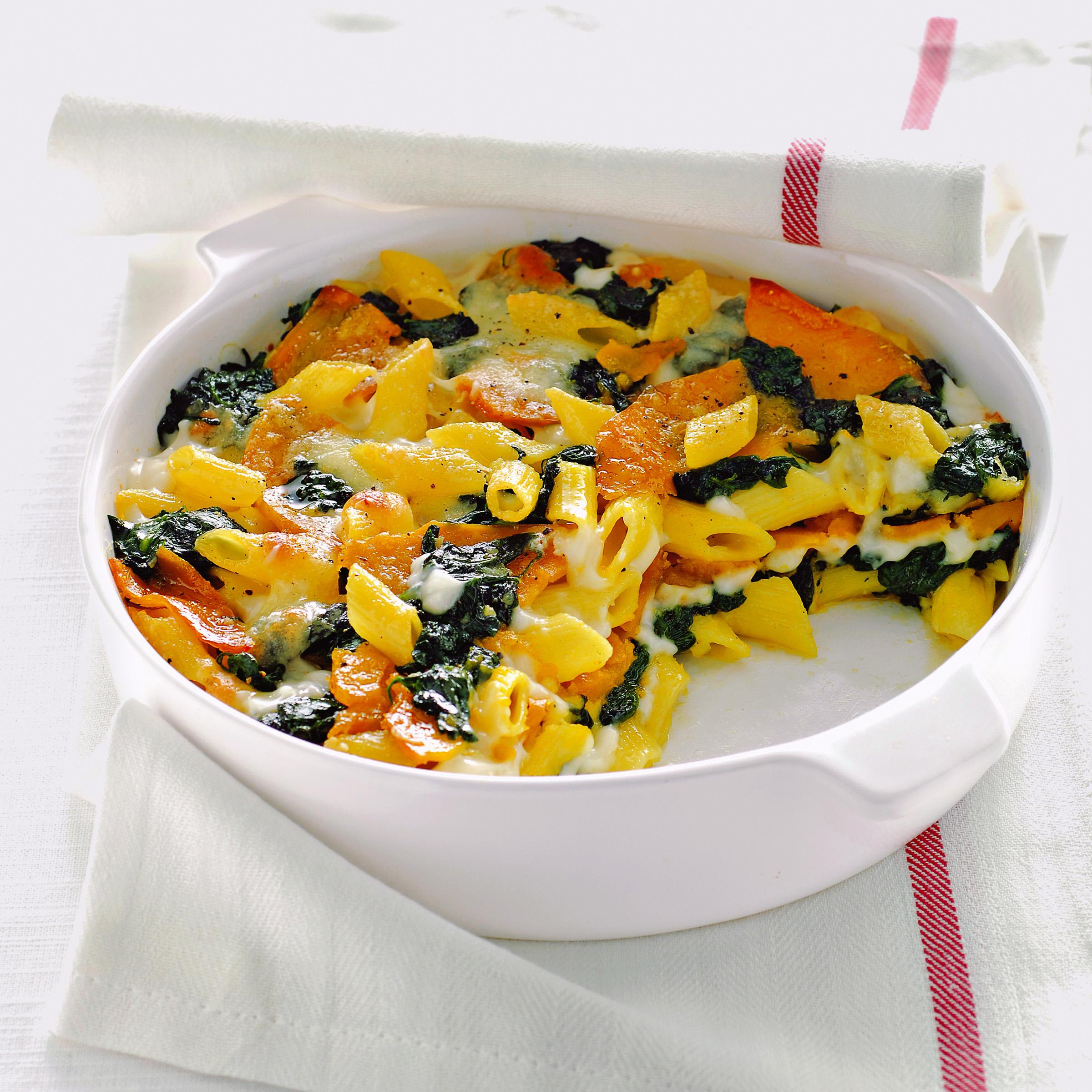 Pasta zucca mozzarella al forno