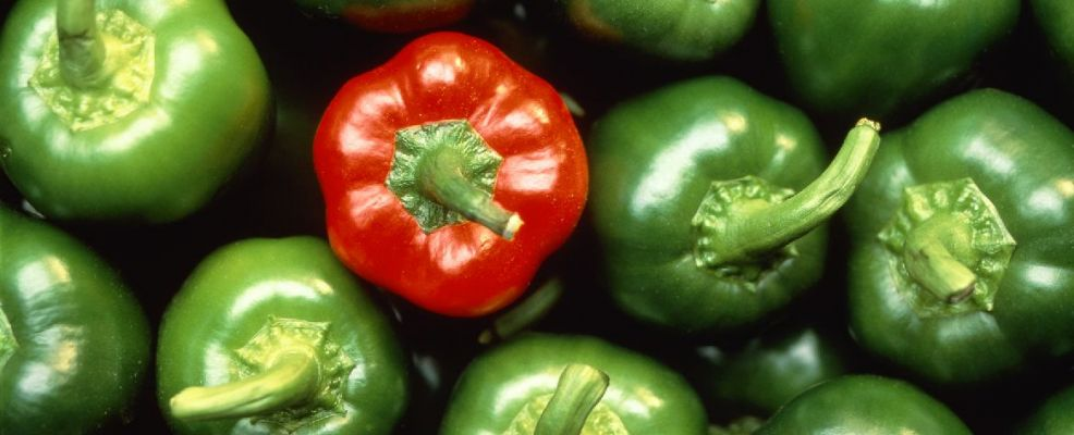Green and One Red Bell Peppers