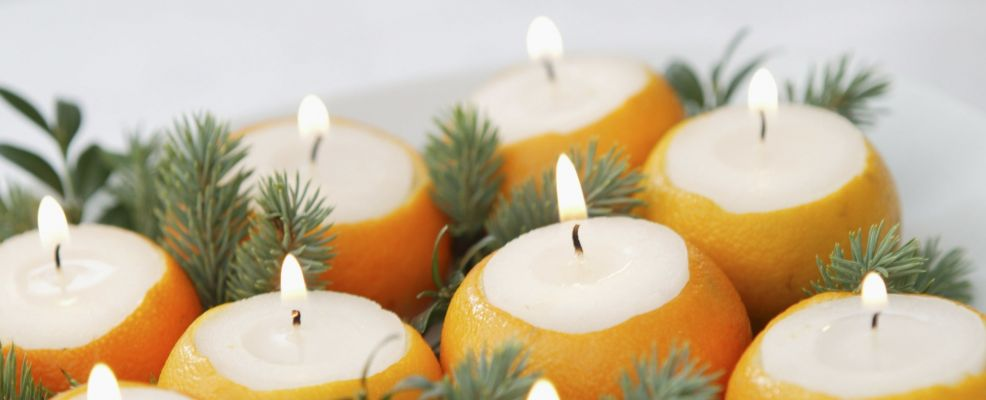 Plate with Candles in Orange Peels