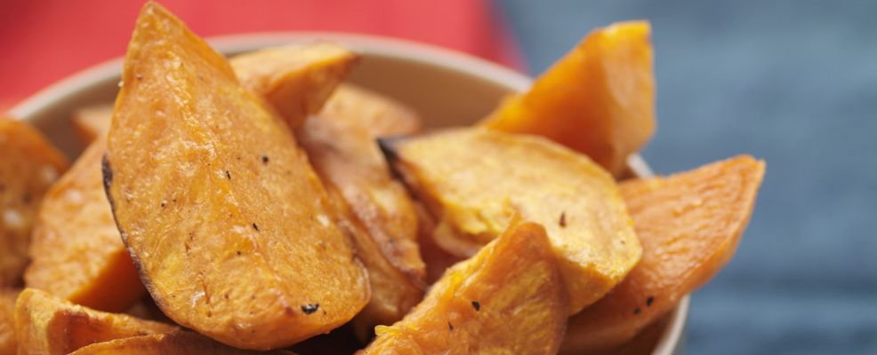 Platter of Baked Sweet Potato Wedges