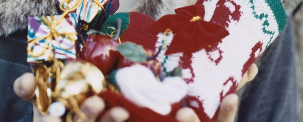A girl with Christmas decoration
