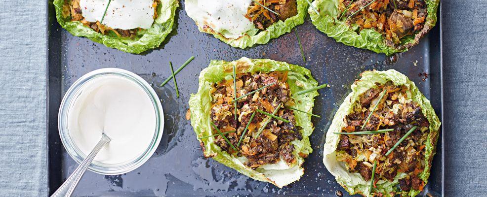 foglie con ripieno di funghi e pane ai cereali Sale&Pepe ricetta